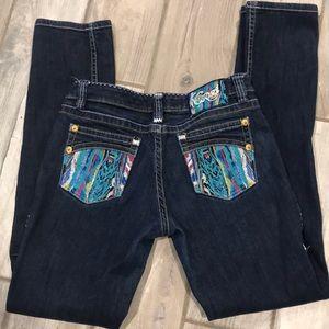 COOGI Embroidered Pocket Skinny Blue Jeans 7/8